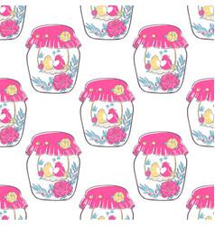 pattern birds in love in jar decorated vector image
