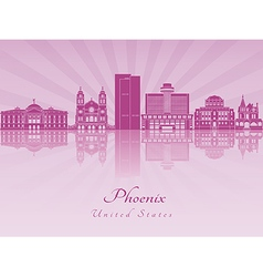 Phoenix skyline in purple radiant orchid vector
