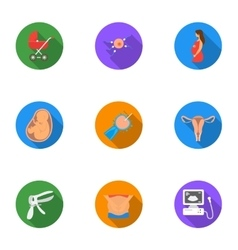Pregnancy set icons in flat style Big collection vector