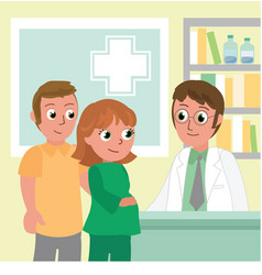 pregnant woman and man in doctor office vector image