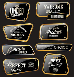 Premium quality glossy gold and black labels vector