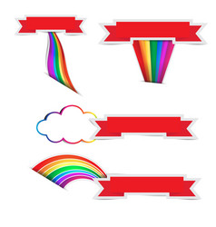 rainbow arrow paper with ribbon paper on white vector image
