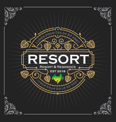 resort and residence logo vintage luxury banner vector image