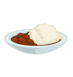 rice and stewed meat with gravy in bowl isolated vector image