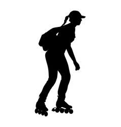 Roller skating girl silhouette lady in training vector