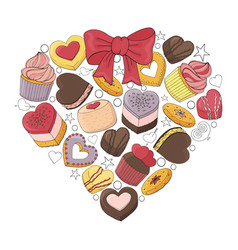 romantic heart is made of different desserts vector image
