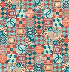 Seamless pattern patchwork vintage mosaic oriental vector