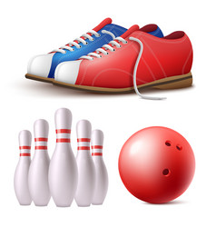 set bowling skittles ball and shoes realistic vector image
