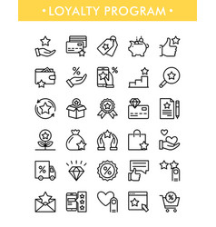 Set loyalty program line icons vector