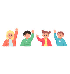 Set smiling school pupil ask question hand up vector