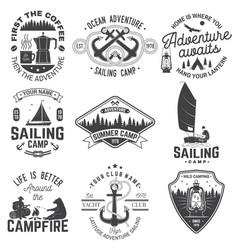 Set summer camp and sailing badges vector