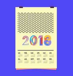 Set wall calendar 2018 template design vector