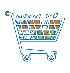 shopping cart with vegetables vector image