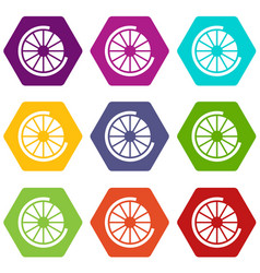 Sign incomplete download icon set color hexahedron vector
