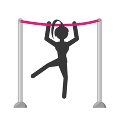silhouette girl athele gymnastic with bar vector image