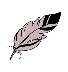 simple linear clipart feather boho tattoo magic vector image