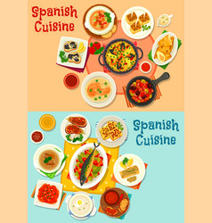 spanish cuisine menu icon set for dinner design vector image