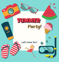 Summer holiday vacation party poster flat vector
