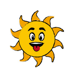 Sun cartoon tongue out fun mascot character vector