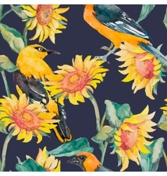 Sunflowers and oriole pattern watercolor vector