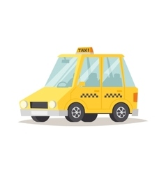 taxi yellow car flat style vector image