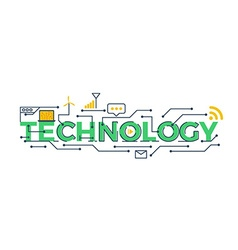 technology word vector image vector image