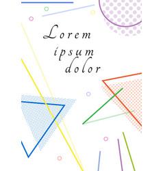 trendy geometric elements memphis cards retro vector image