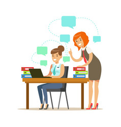 two employee women working on a project colorful vector image