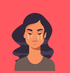 unhappy terrified girl crying stop violence vector image