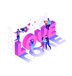 valentines day - modern colorful isometric vector image