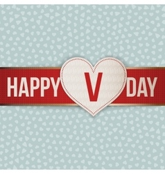 Valentines Day realistic white Label on red Ribbon vector