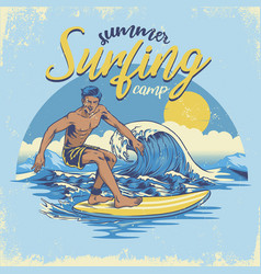 Vintage textured hand draiwng surfing design vector