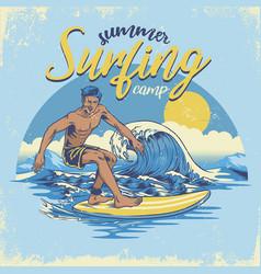 vintage textured hand draiwng surfing design vector image