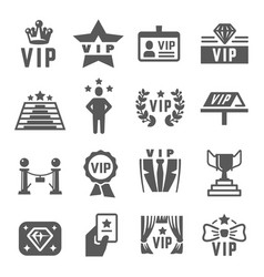 vip with star rosette crown black silhouette vector image