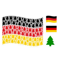 Waving germany flag collage of fir-tree icons vector
