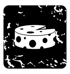 Wheel of cheese icon grunge style vector