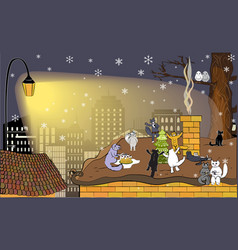 Winter greeting card with happy cats vector