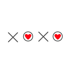Xoxo hugs and kisses sign symbol mark love card vector
