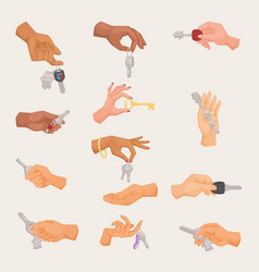 human hand holding apartment male and vector image