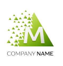 letter m logo symbol in colorful triangle vector image
