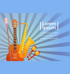 Music instruments set banner with copy space vector