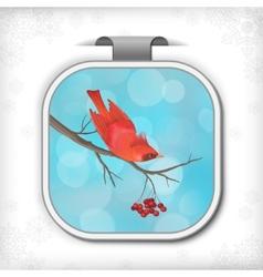 Winter Christmas Sticker Bird Rowan Tree Branch vector image vector image