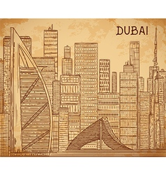 dubai cityscape on aged paper background vector image vector image