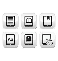 E-book reader e-reader buttons set vector image