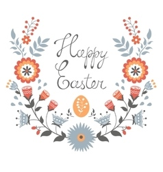 Easter card with floral wreath vector image vector image