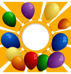 Group of color balls on the background of the sun vector image vector image