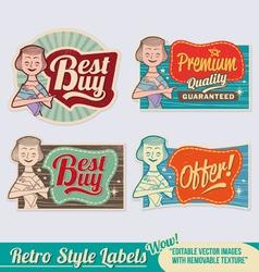 Retro label set vector