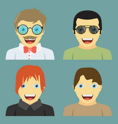 set of people icons in flat style with faces men vector image
