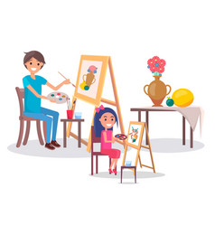 Art family classes drawing still life picture vase vector