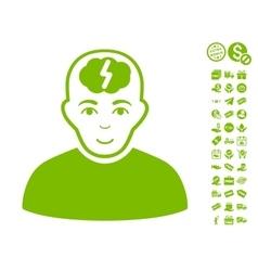 Clever boy icon with free bonus vector